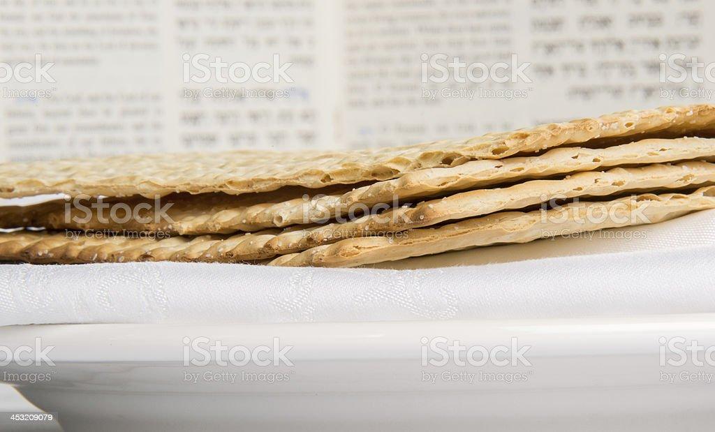 Closeup of Matzah on Plate stock photo