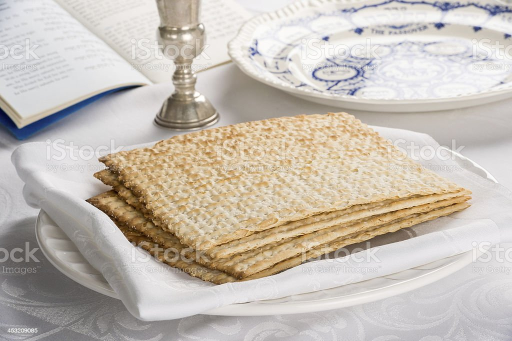 Closeup of Matzah on Plate royalty-free stock photo