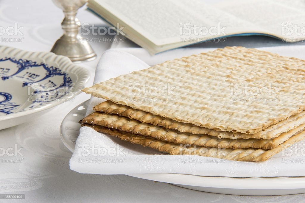 Closeup of Matzah on Plate stock photo