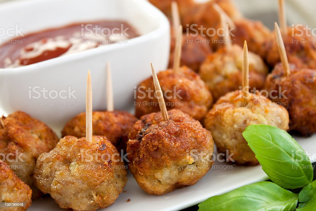 Closeup of meatball appetizers stock photo