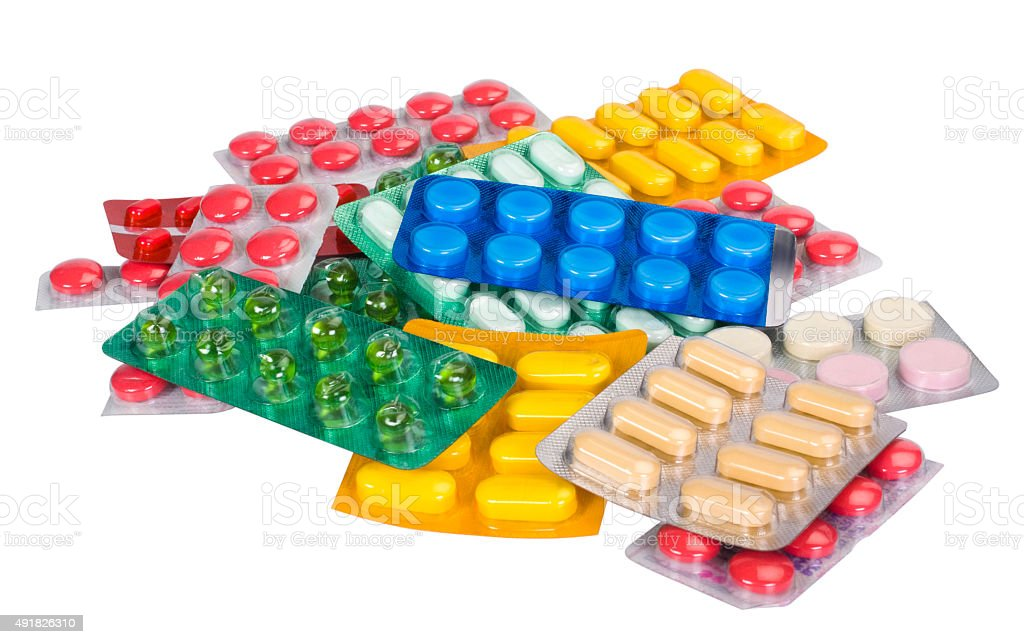 Close-up of medicines in blister packs stock photo