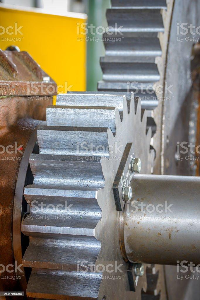 Close-up of metal gear stock photo