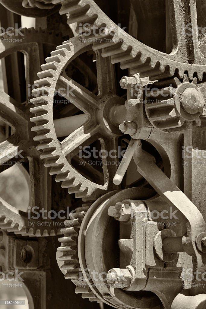 A close-up of metallic gear wheels stock photo
