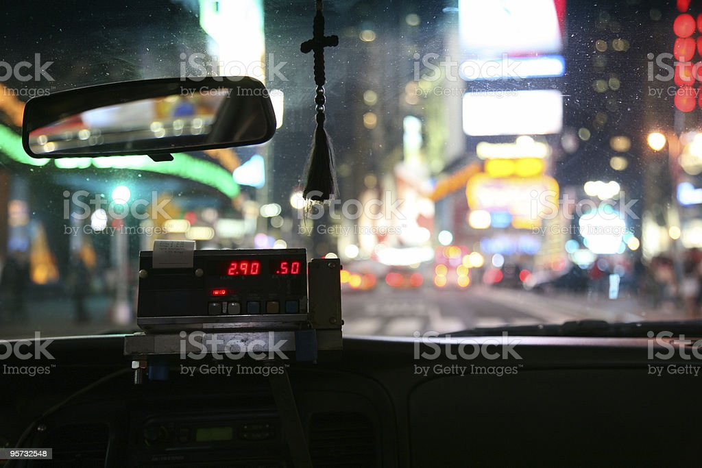 Close-up of meter inside a New York City taxi stock photo