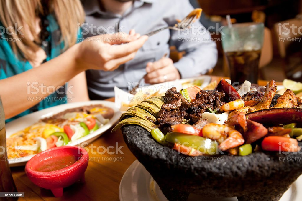 Closeup of Mexican Food at a Customer's Restaurant Table stock photo