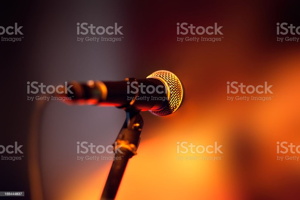 Close-up of microphone on stage stock photo