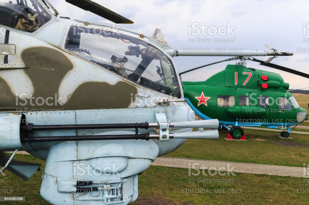 Close-up of military helicopter stock photo