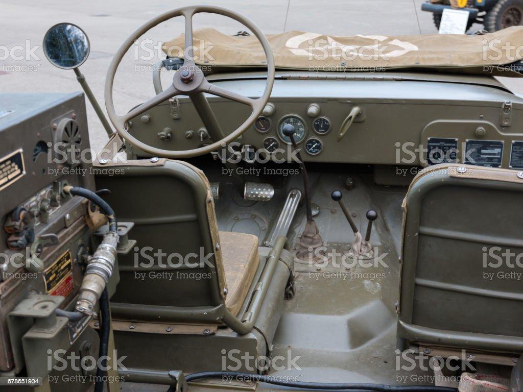 Closeup of Military Vehicle Steering Wheel stock photo