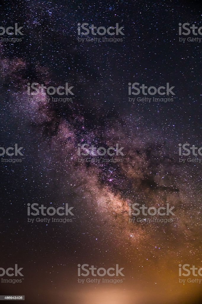 Close-up of Milky Way Galaxy during summer clear starry night stock photo