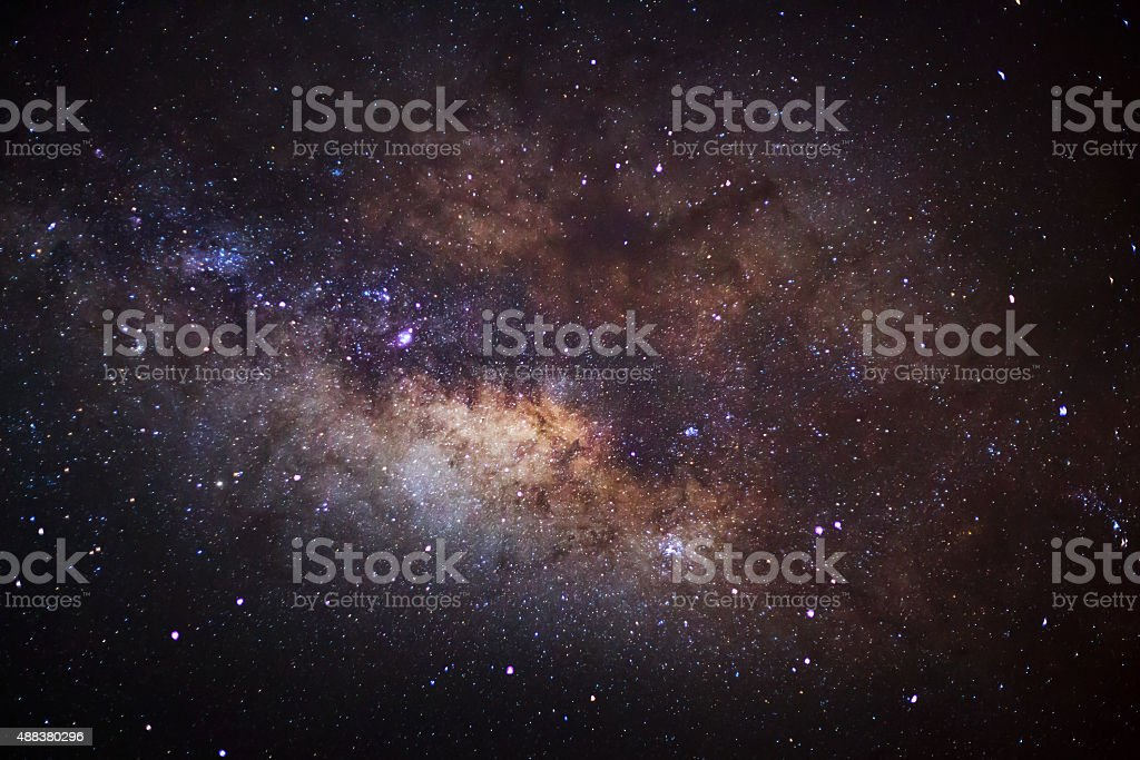 Close-up of Milky Way,Long exposure photograph, with grain stock photo
