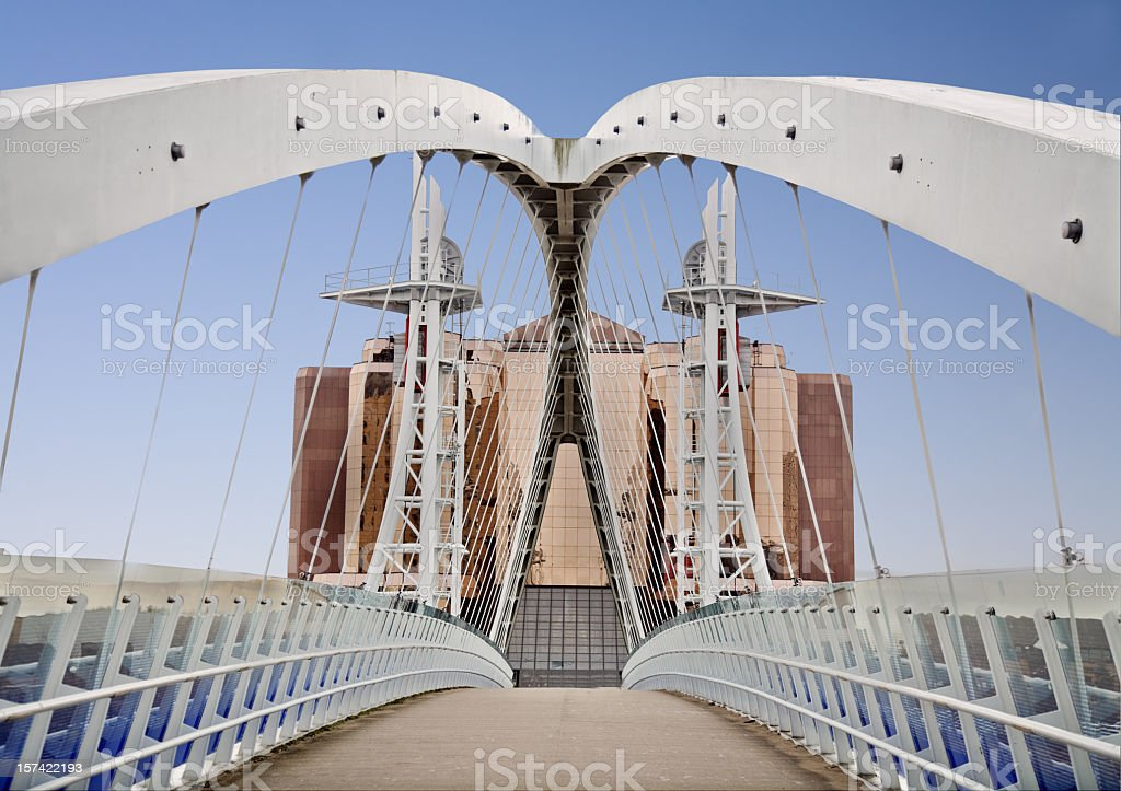 Close-up of Millennium Bridge in Salford, Manchester stock photo