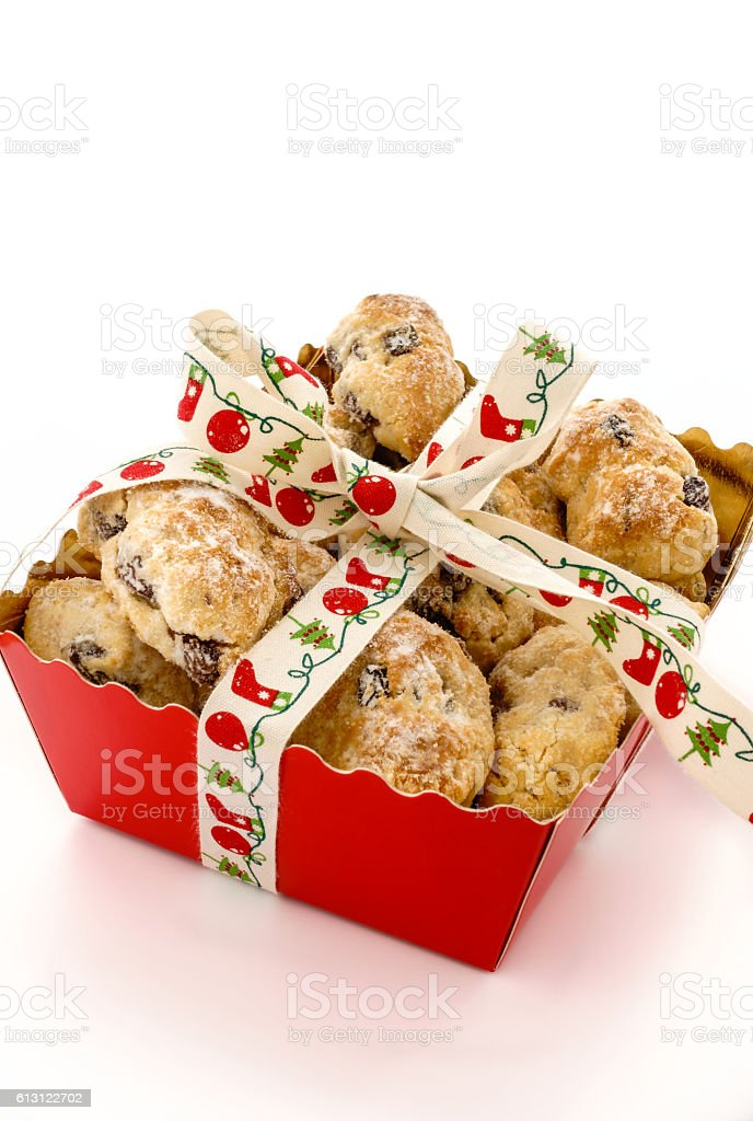 Closeup of Mini Christstollen in a Festive Tray stock photo