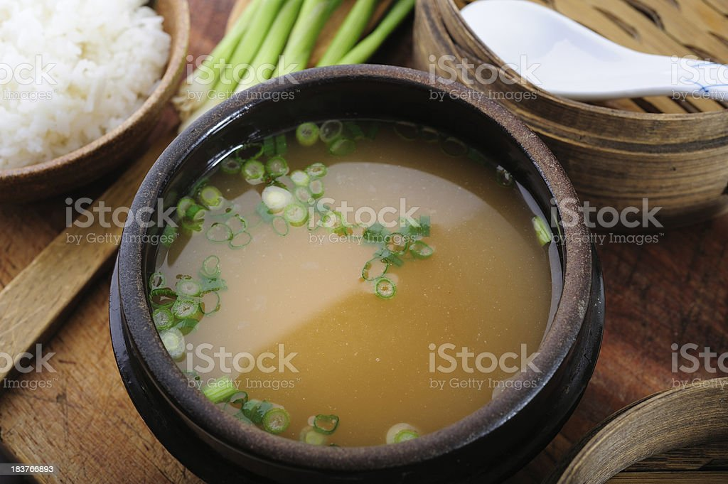 Closeup of miso soup in a bowl stock photo