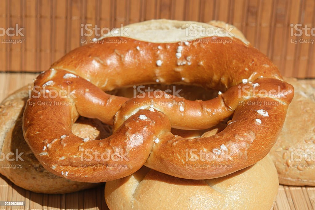 Close-up of  mixed bread rolls and pretzel stock photo