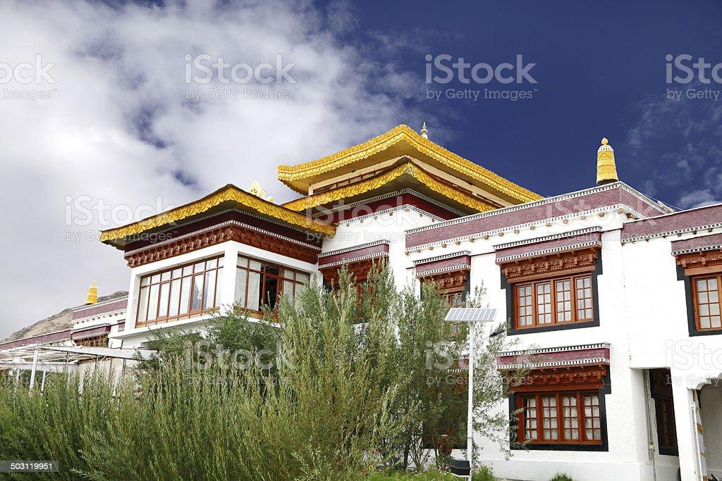 Closeup of Monastery at Druk White Lotus school campus Leh stock photo