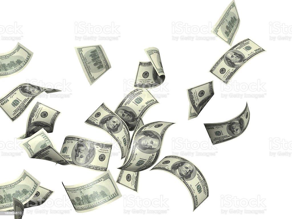 A closeup of money blowing away stock photo