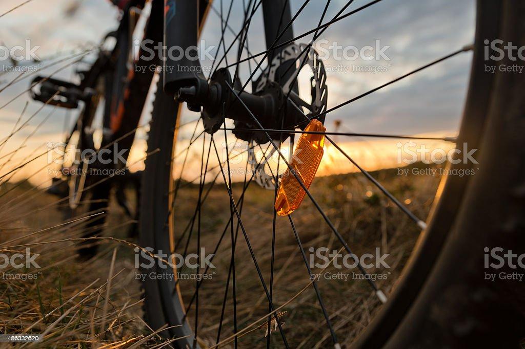 Closeup of mountain bike stock photo