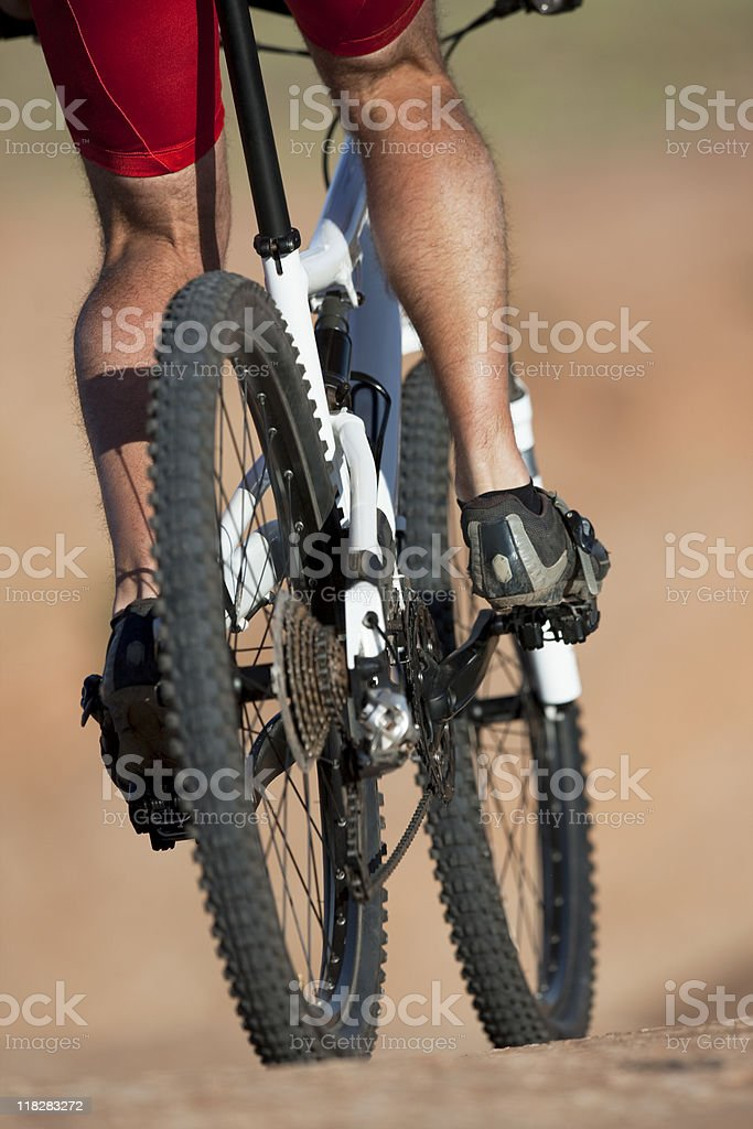 Close-Up Of Mountain Biker's Legs Pedaling Bicycle royalty-free stock photo