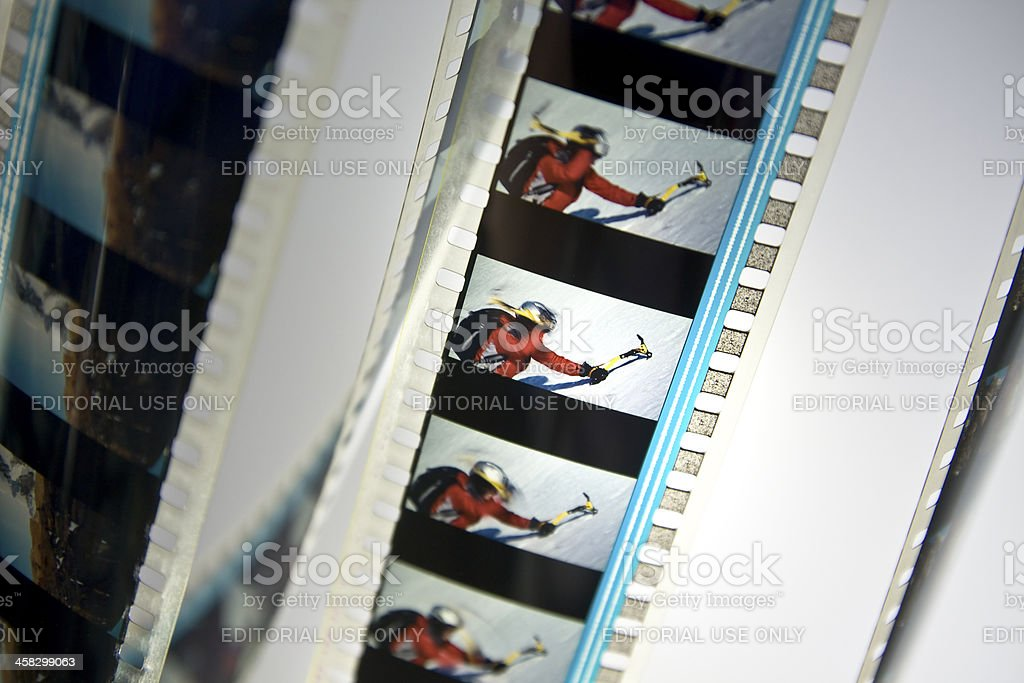 Close-up of movie film reel frame stock photo