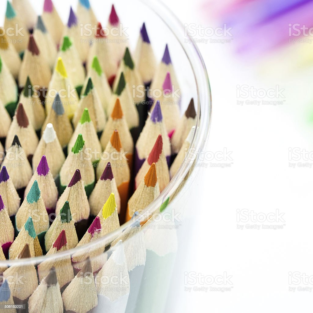 Close-up of multicolored crayon tips royalty-free stock photo