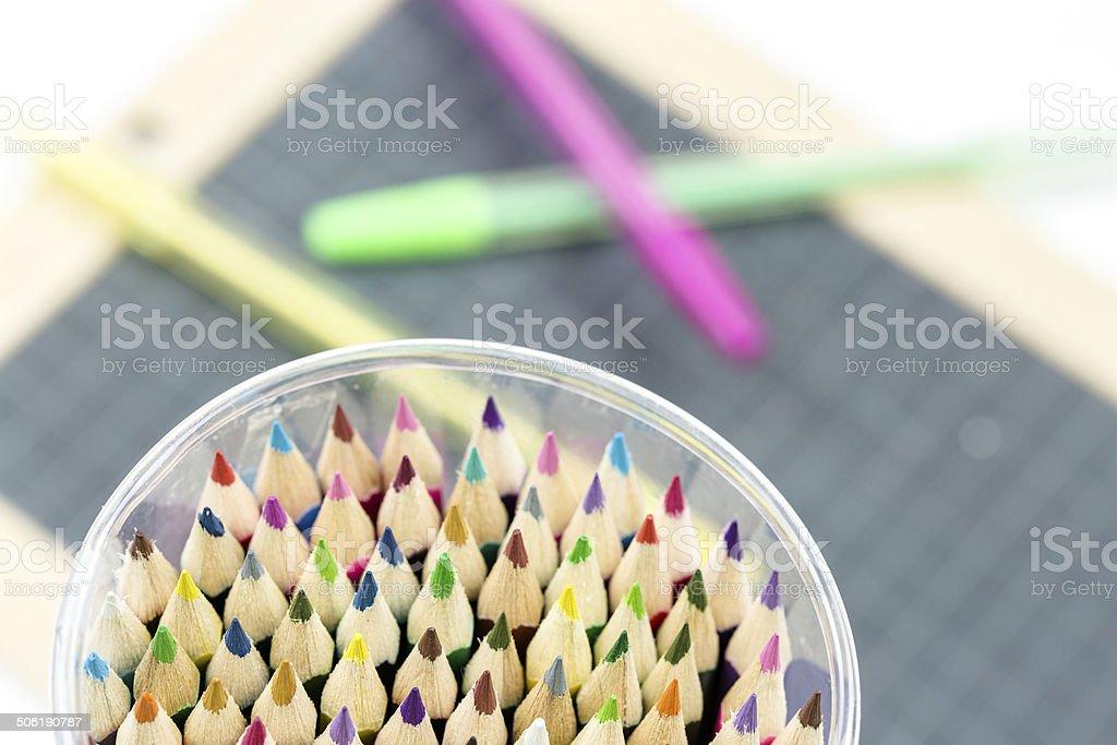 Closeup of multicolored crayon tips royalty-free stock photo