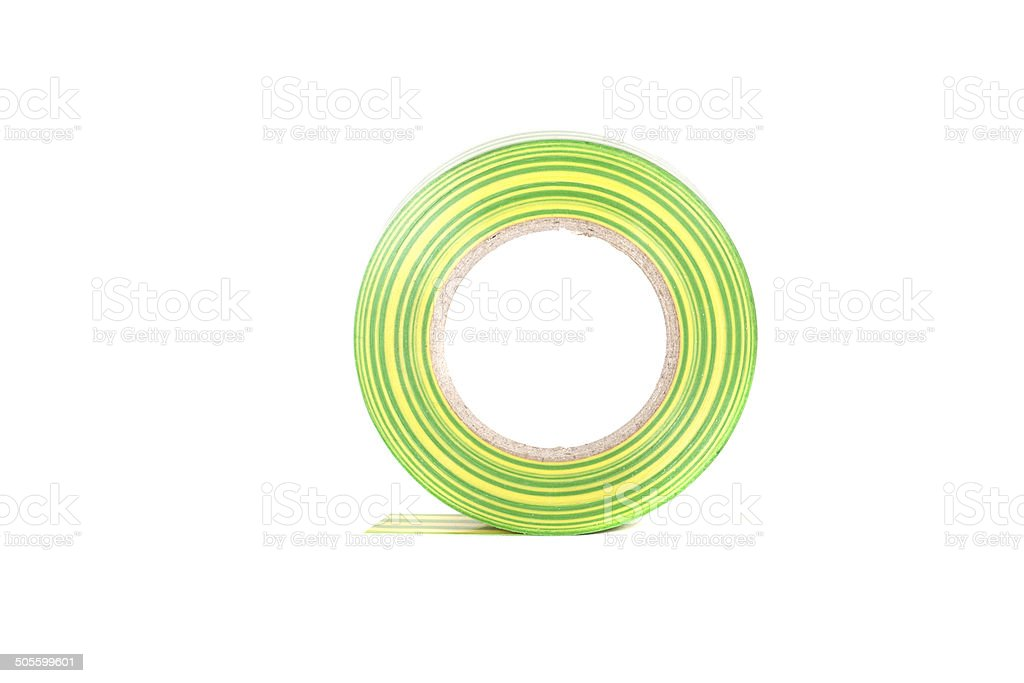 Closeup of multicolored insulating tapes isolated on white backg stock photo