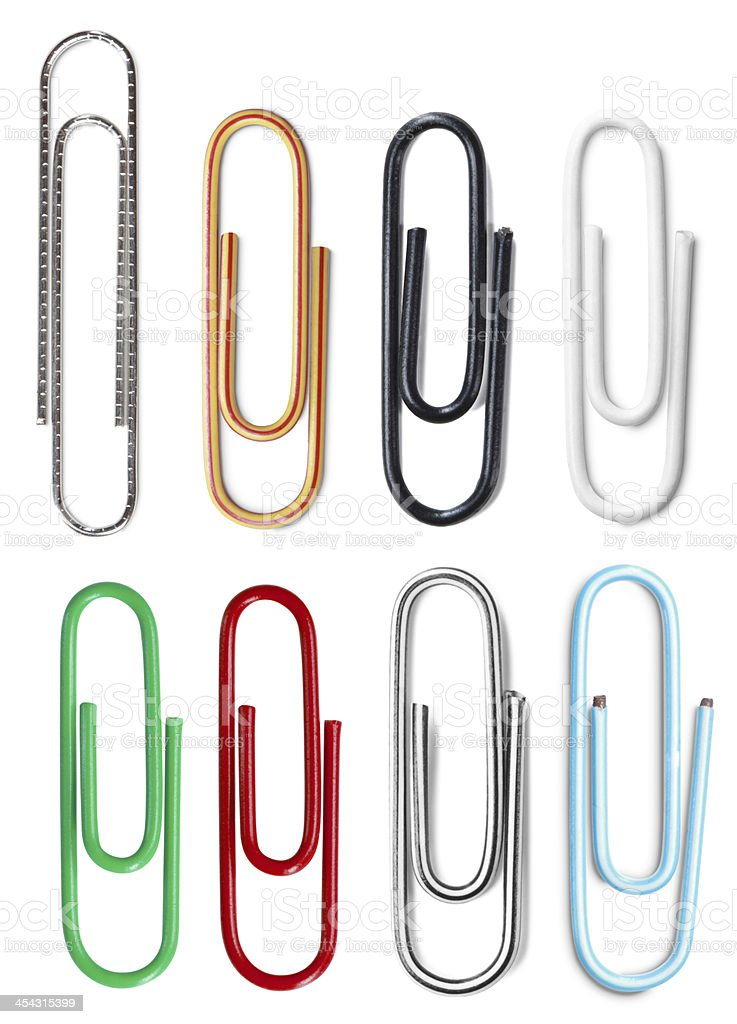 Closeup of multi-colored paper clips royalty-free stock photo