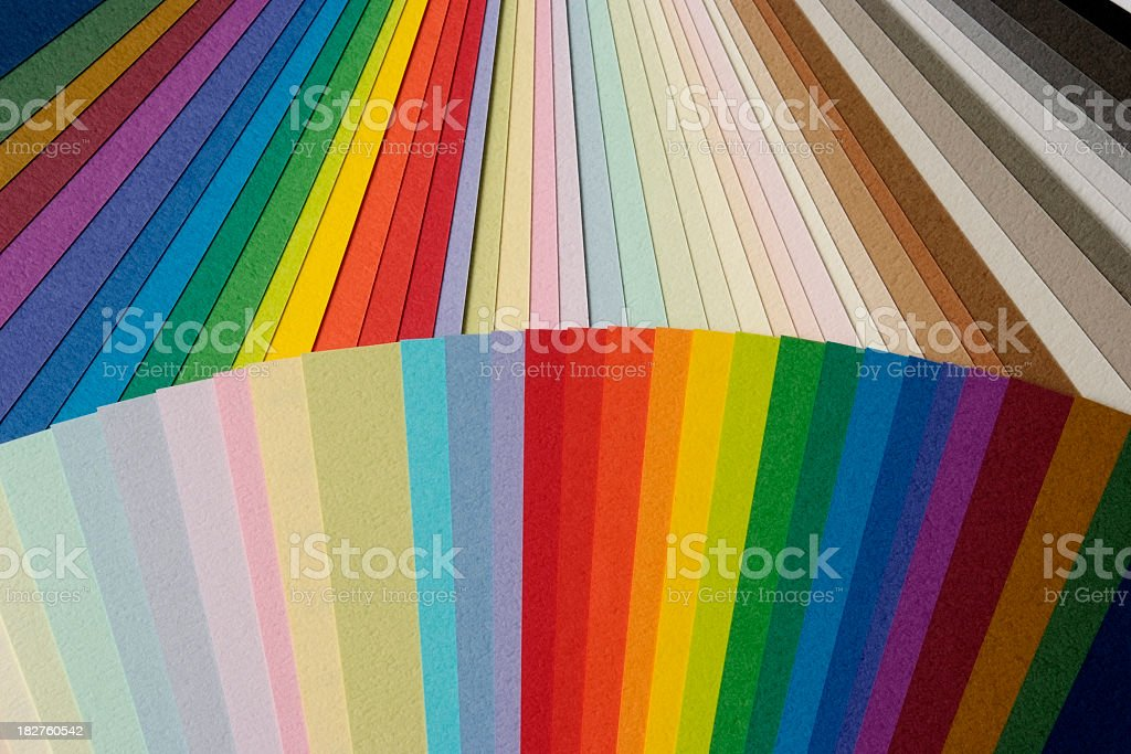 Close-up of multicolored paper samples background royalty-free stock photo