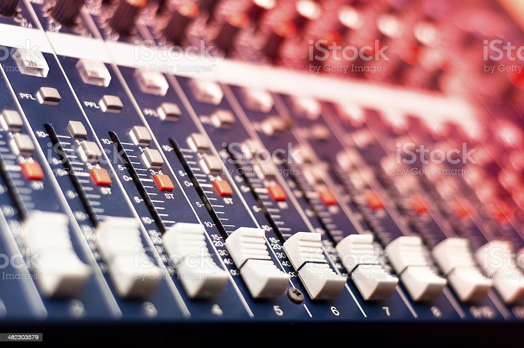 Close-up of music mixer in audio studio