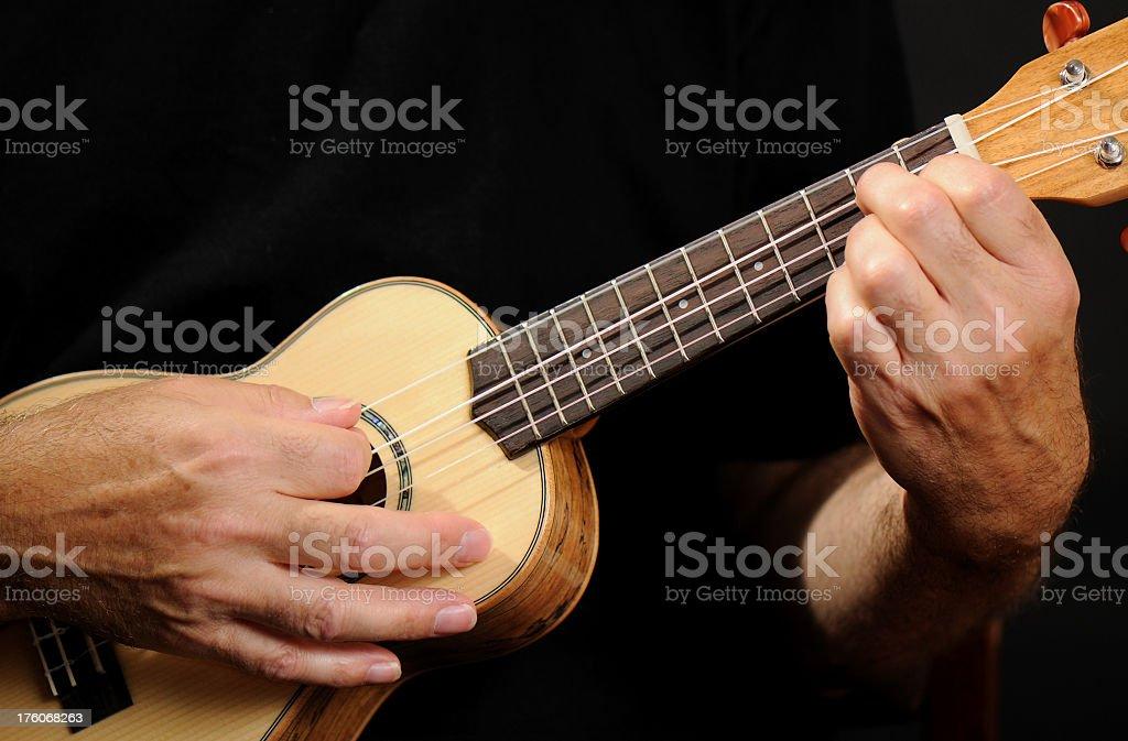 Close-up of musician playing Ukelele stock photo