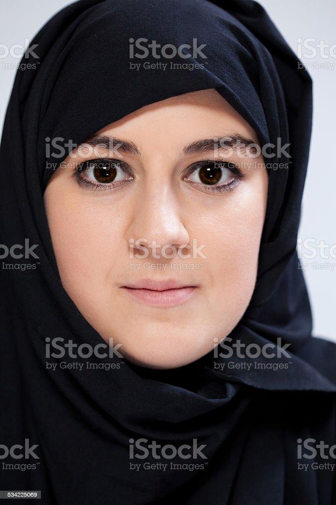 Close-up of muslim woman stock photo