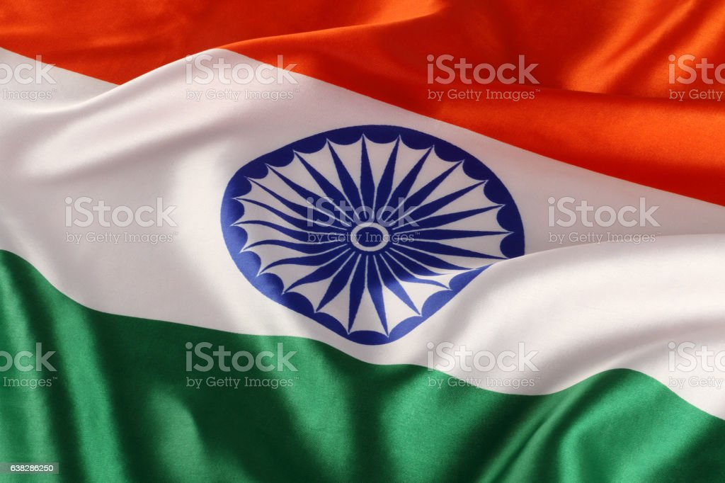 Closeup of National Indian Flag - Tricolor stock photo