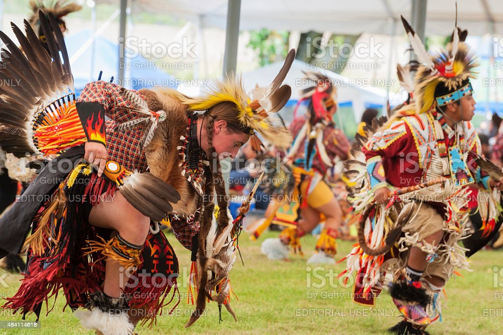 Closeup of Native American Indian Turkey Dance stock photo