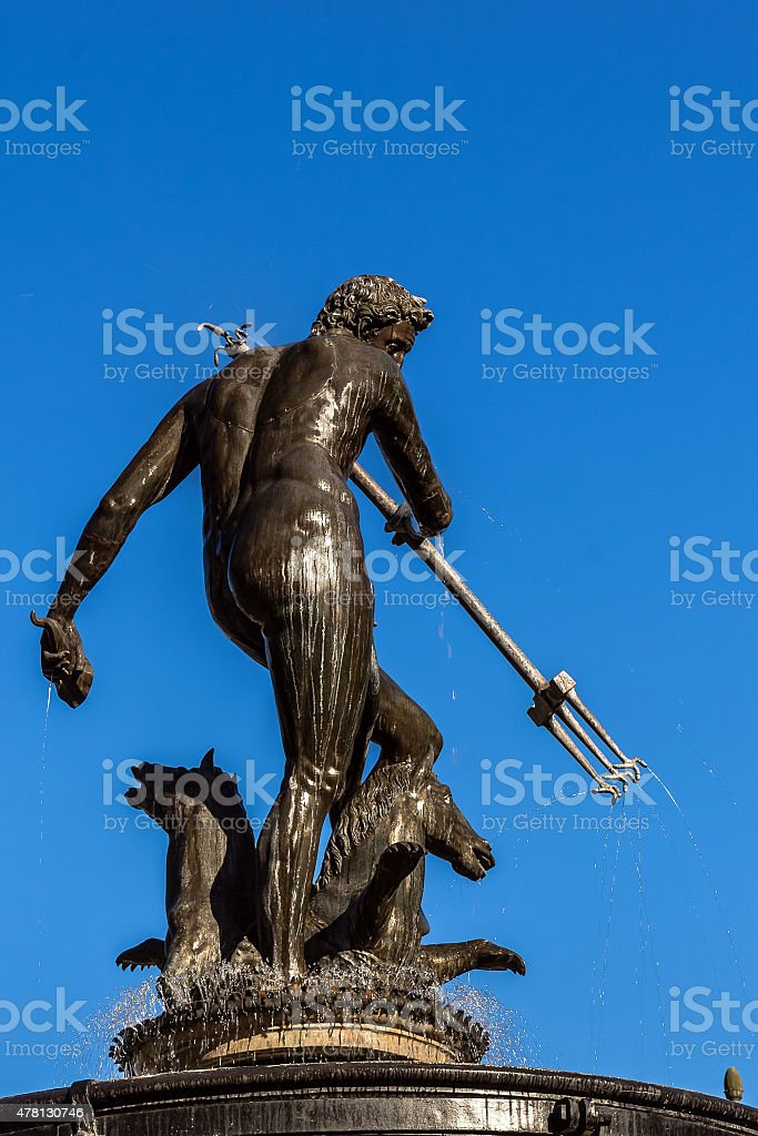 Close-up of Neptune's Fountain stock photo