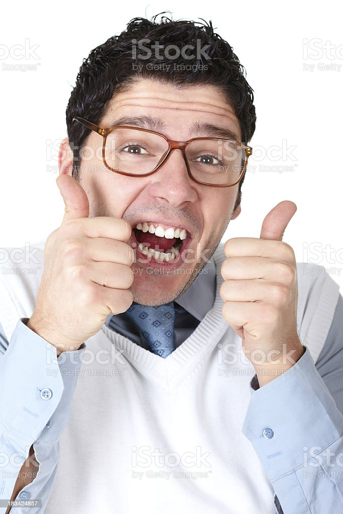 Close-up of nerd holding thumbs up royalty-free stock photo