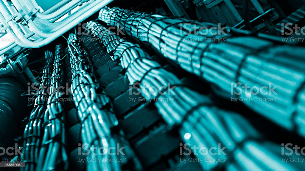 Close-up of network cable bundles stock photo