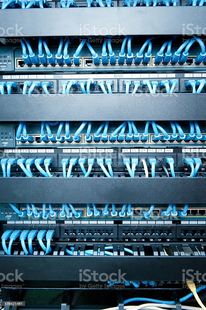 Close-up of network hub and cable stock photo
