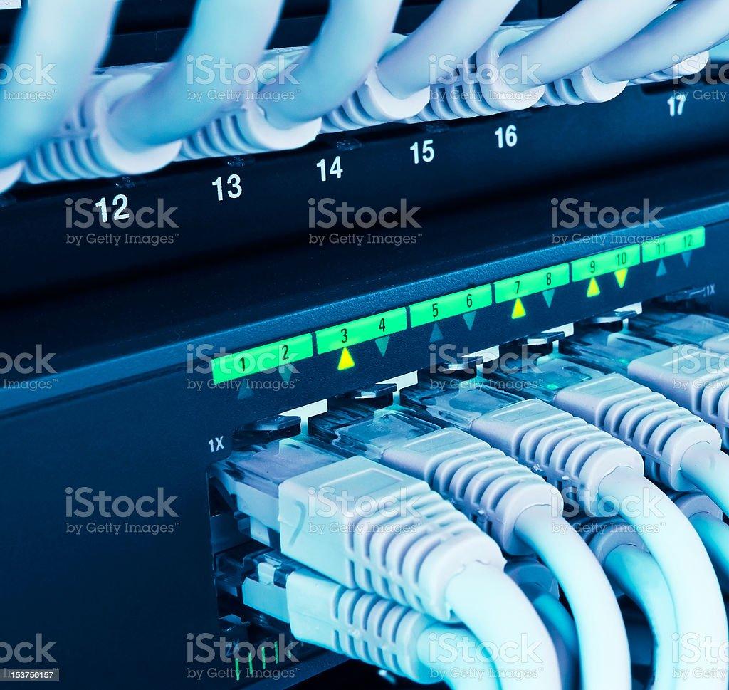 closeup of network hub stock photo