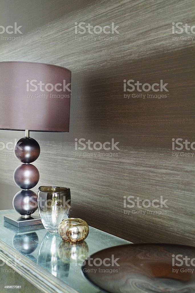Closeup of neutral striped wallpaper stock photo