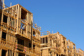 Close-up of new construction with wooden frame