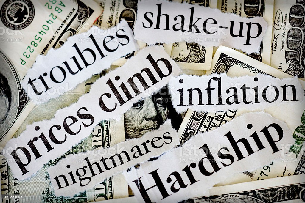 Close-up of newspaper clipping of finance hard times stock photo