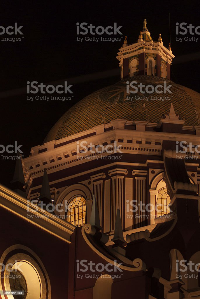 Closeup of Night lights on Cathedral of Puebla Mexico stock photo
