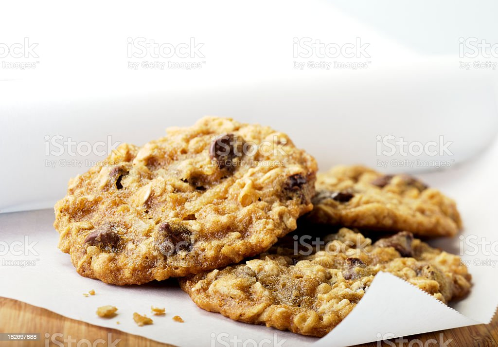 Close-up of oatmeal chocolate chip cookies on paper towel royalty-free stock photo