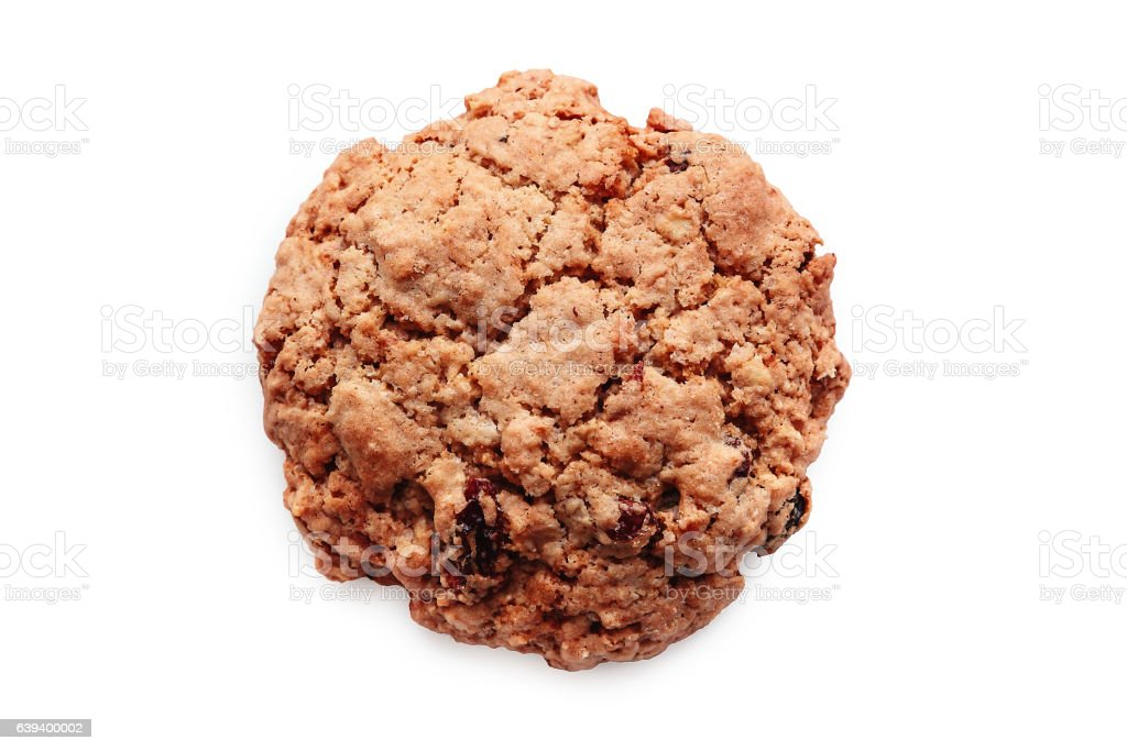 Close-up Of Oatmeal Raisin Cranberry Cookie stock photo