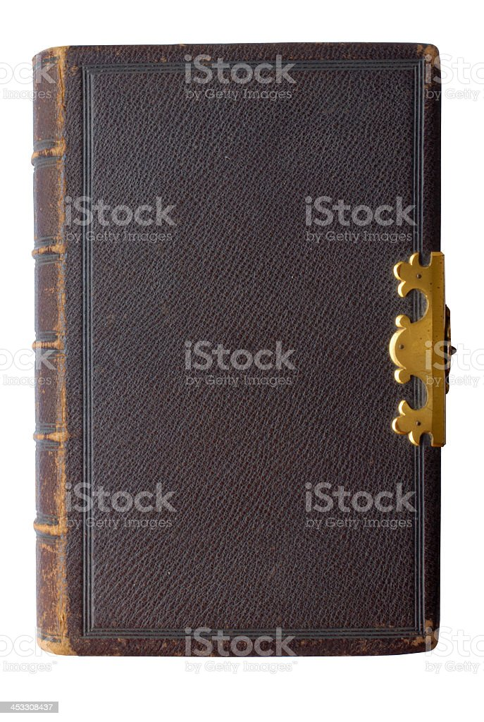 Close-up of old black leather-bound book royalty-free stock photo