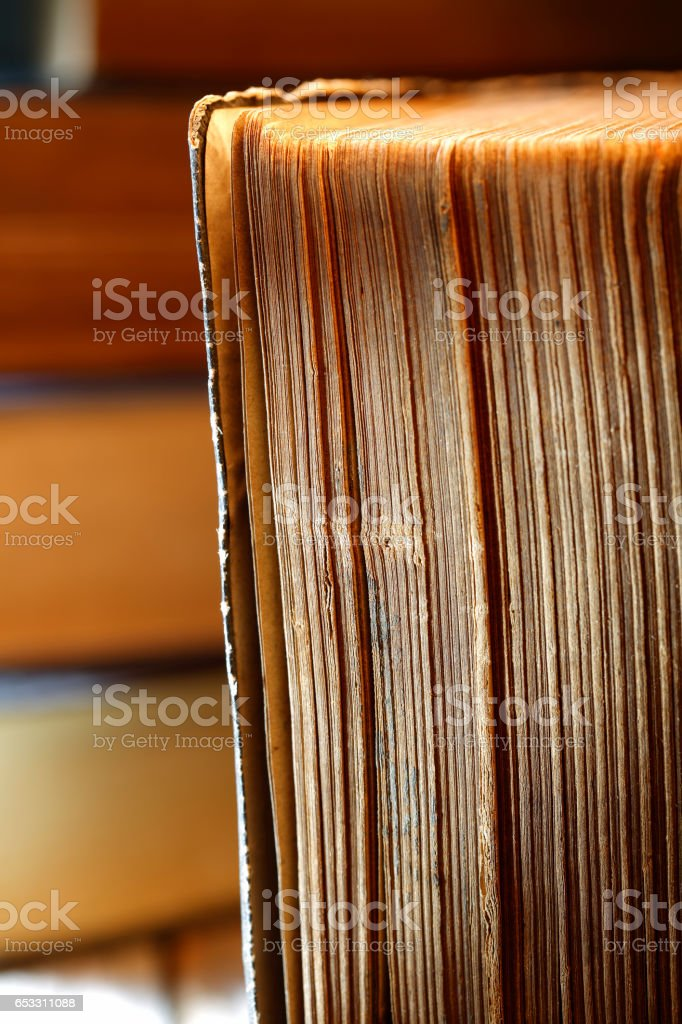 Closeup of old books side stock photo