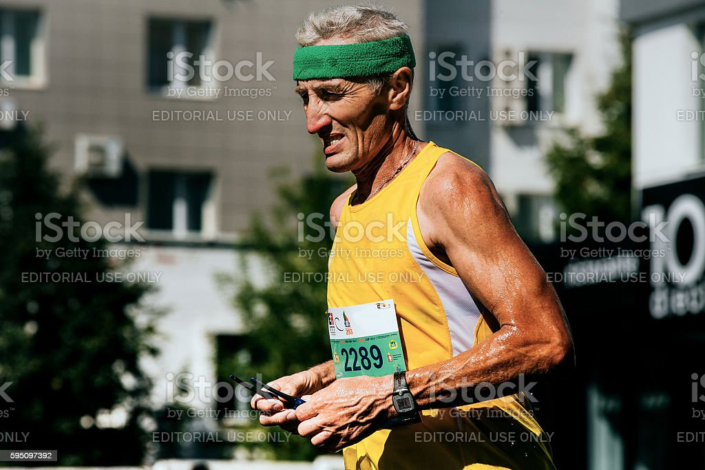 closeup of old man runner watch on his arm royalty-free 스톡 사진