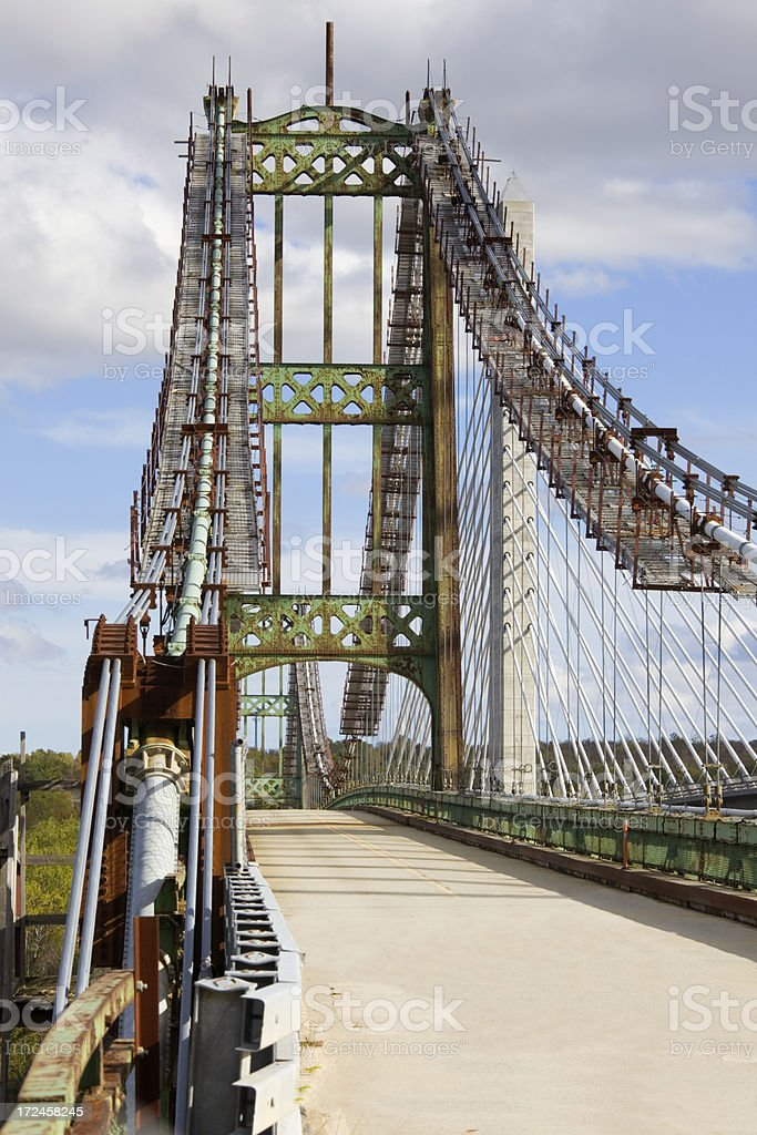 Close-up of old Penobscot Narrows Bridge, Maine royalty-free stock photo