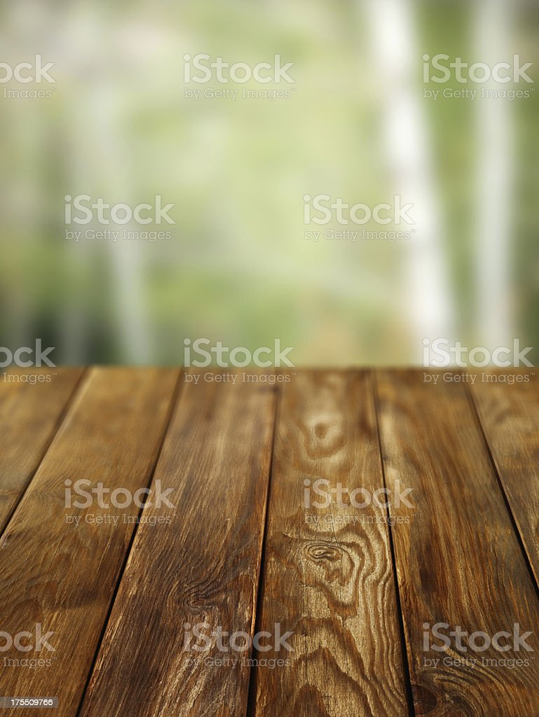 Close-up of old pine picnic table royalty-free stock photo