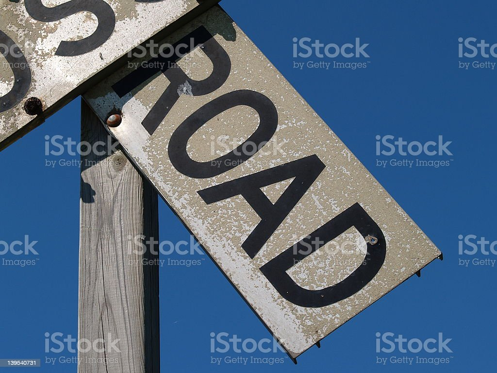Close-up of old Railroad Crossbucks royalty-free stock photo